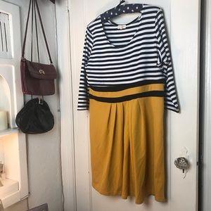 Striped Mustard Skirt Dress